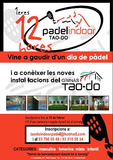 12 horas de padel en el Indoor Pàdel Tao-do
