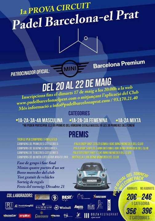 1a prueba circuito Padel Barcelona – el Prat