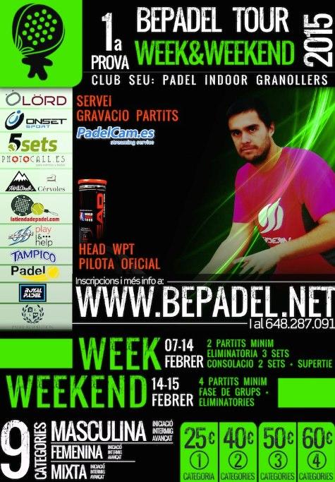 1a prueba BePadel Tour WEEK&WEEKEND 2015