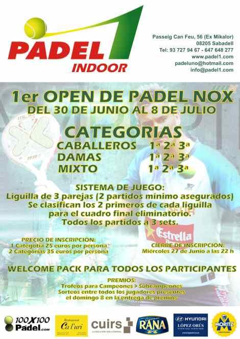 1er Open Padel NOX en el Padel 1 Indoor de Sabadell
