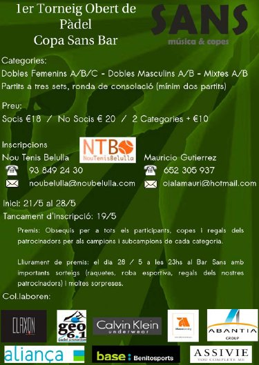 1er Torneo Abierto de padel Copa Sans Bar
