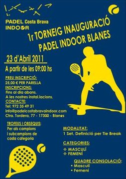 1er Torneo inauguracion Padel Costa Brava Indoor