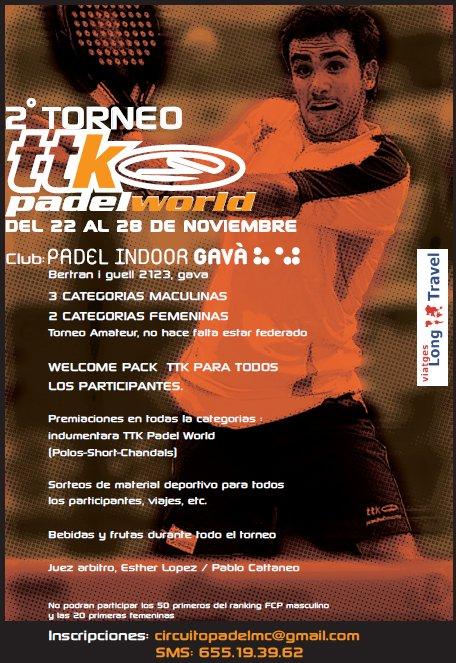 2o Torneo TTK padel World en el nuevo Padel Indoor Gava