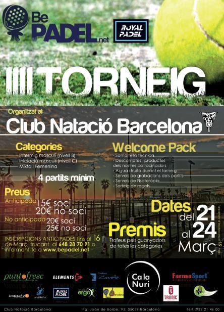 3er torneo Be Padel el club natacio Barcelona