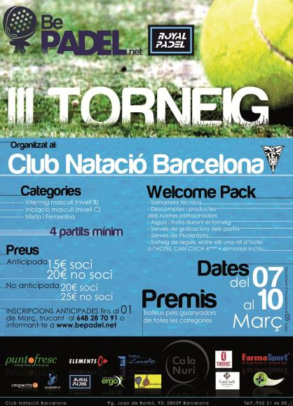 3r Torneo BePadel en el CN Barcelona