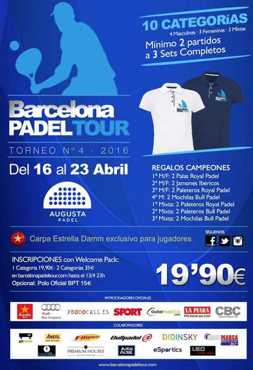 4a prueba Barcelona Padel Tour 2016