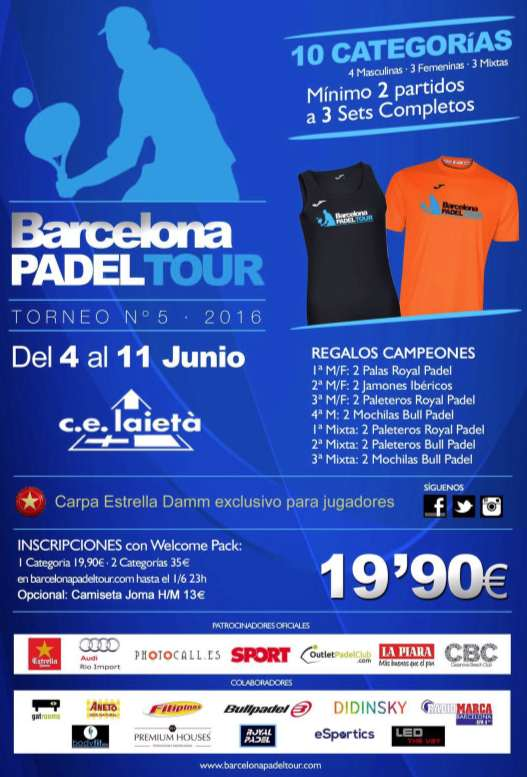 6a prueba Barcelona padel tour 2016