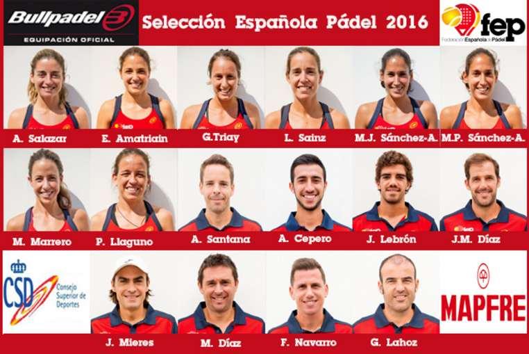 Alineación de la Selección Española de pádel