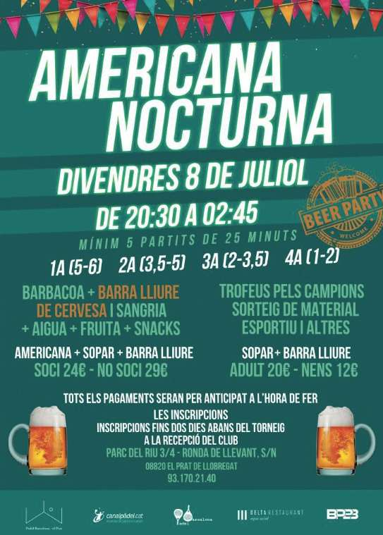 Americana nocturna Padelbarcelona ElPrat