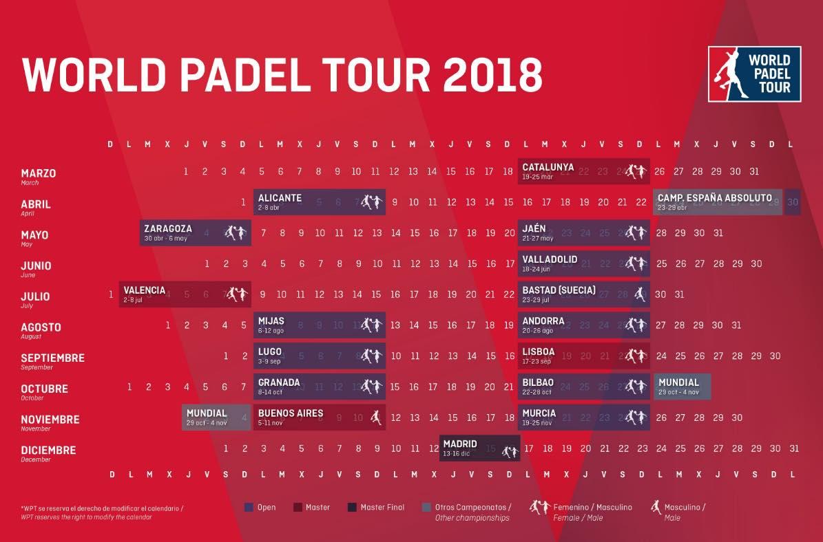 Calendario WPT 2018