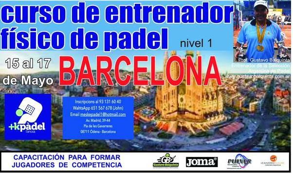 Cambio de fechas del curso de entrenador físico de pádel en Barcelona