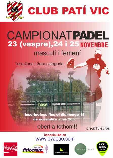 Campeonato de padel Club Pati Vic
