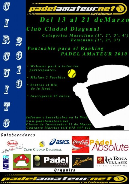 Circuito Padel Amateur 2010 en marcha