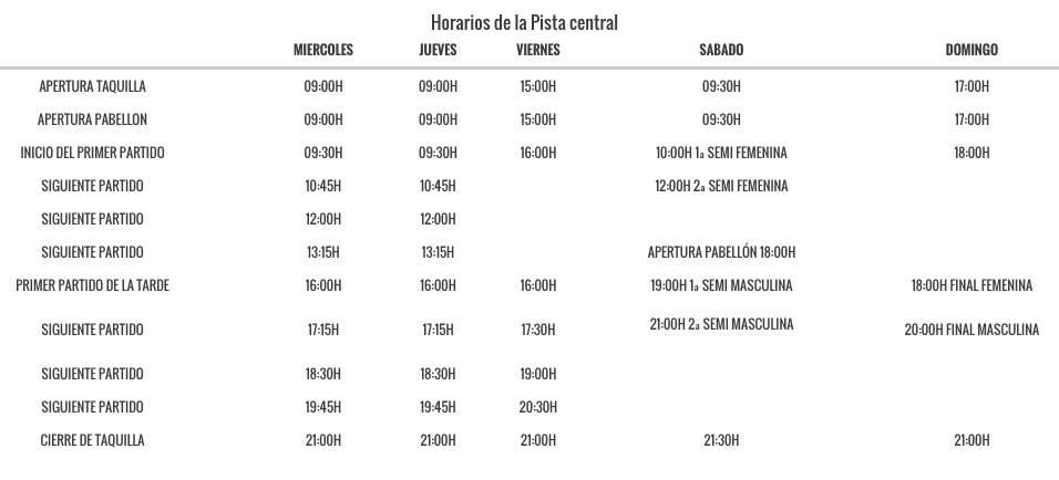 Horarios Estrella Damm La Nucia Open