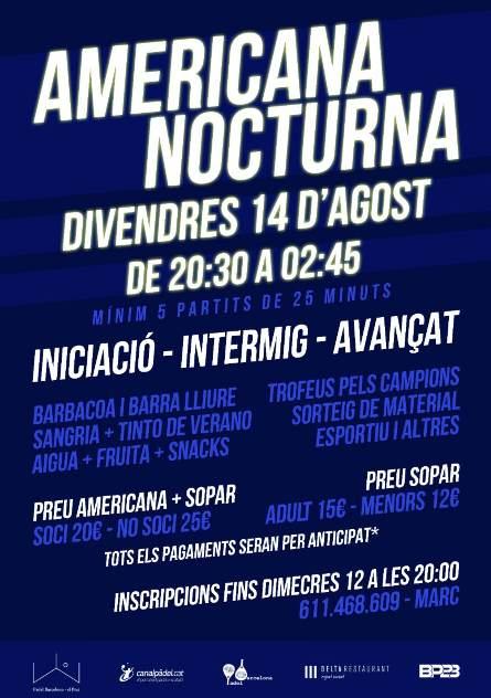 II Americana nocturna en el Padel Barcelona el Prat
