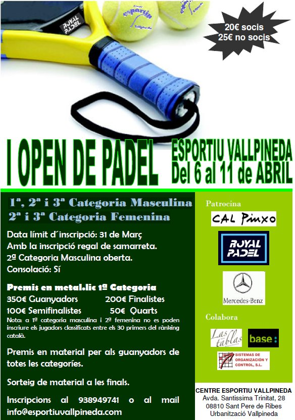 I Open de padel Esportiu Vallpineda