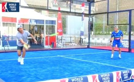 Jugadores World Padel Tour y Tenistas en la pista de pádel del Open de Madrid