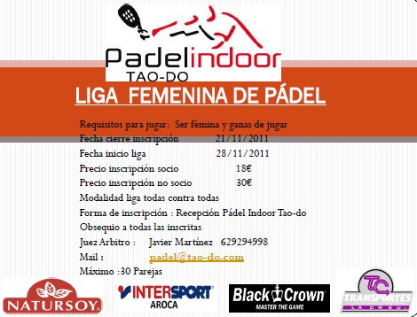 Liga femenina de pádel en el Padel Indoor Tao-Do