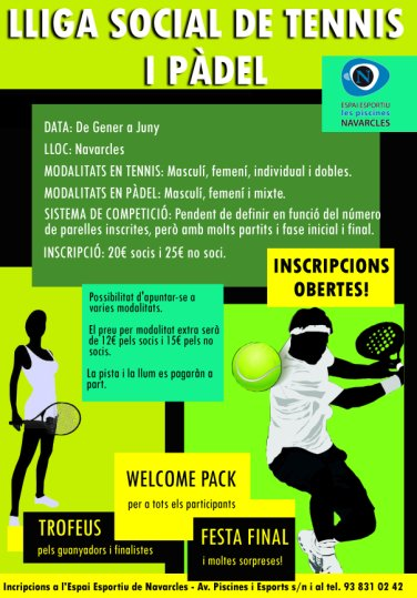 Liga social de Tennis y padel en Navarcels