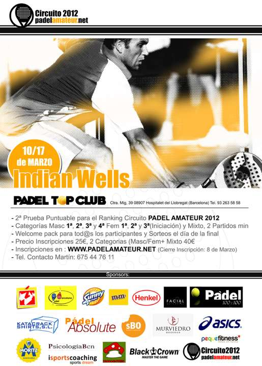 Master 1000 Indian Wells. Circuito padel amateur 2012