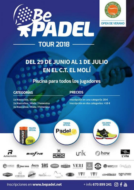 Open BePadel Tour 2018 Club Tennis El Moli