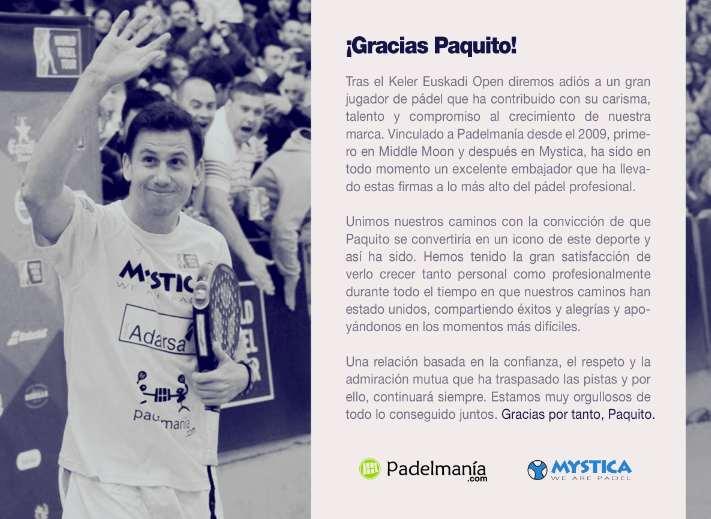 Paquito Navarro se despide de Mystica