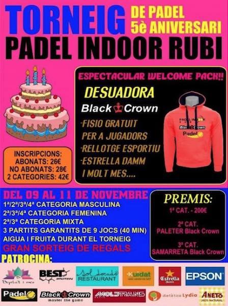 Torneo 5o aniversario Padel Indoor Rubí