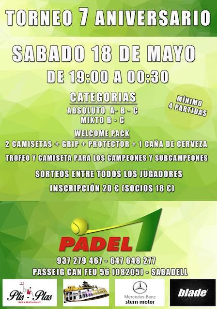 Torneo 7o aniversario Padel1 Sabadell