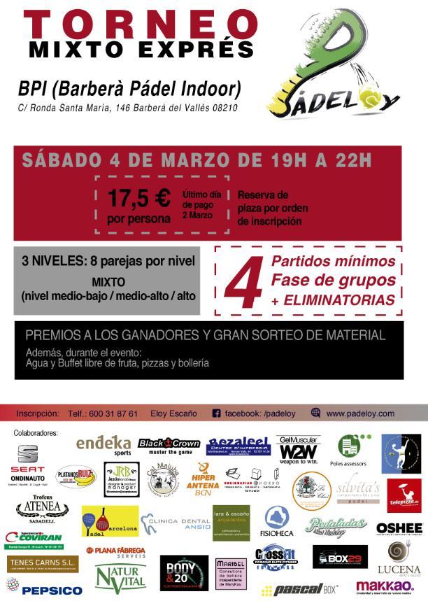 Torneo MIXTO Padeloy 4 de Marzo