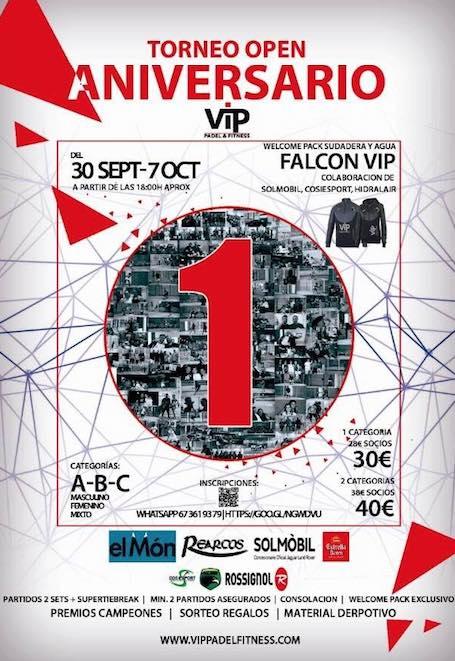 Torneo Open 1er aniversario VIP Padel & Fitness
