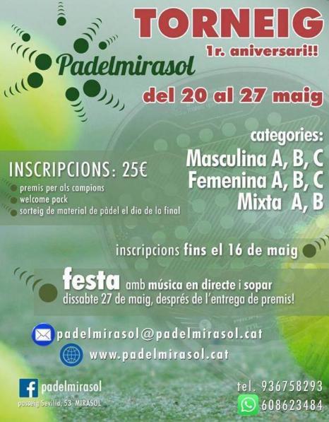 Torneo de pádel 1er aniversario Padel Mirasol