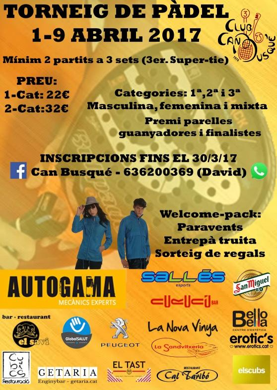Torneo de padel abril Can Busque