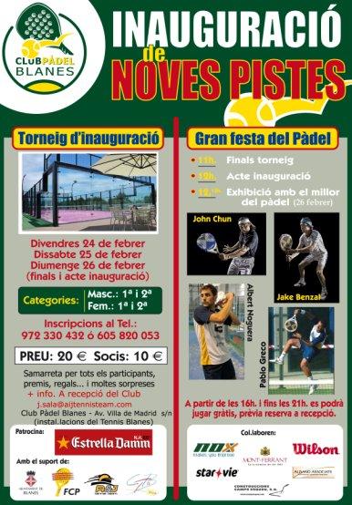 Torneo Inauguracion de nuevas pistas en el Club de padel Blanes