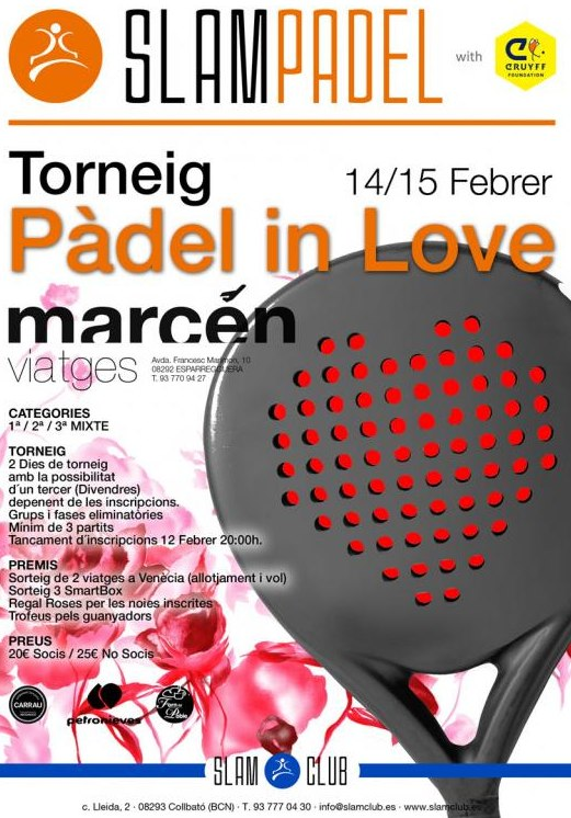 "Torneo Mixto ""Padel in Love"" en el Slam Club"