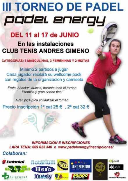 Torneo Padel Energy en Club de Tenis Andres Gimeno
