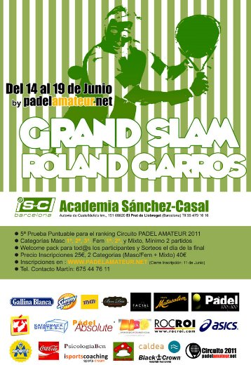 Torneo Padel Grand Slam Roland Garros