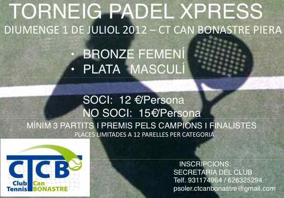 Torneo Padel Xpress CT Can Bonastre