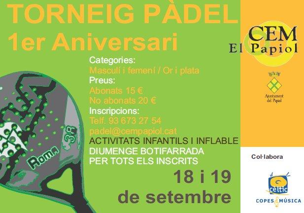 Torneo de pádel 1er aniversario CEM Papiol
