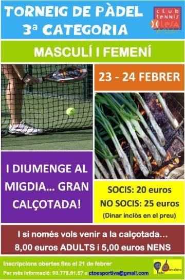 Torneo de padel 3a Categoria en Olesa