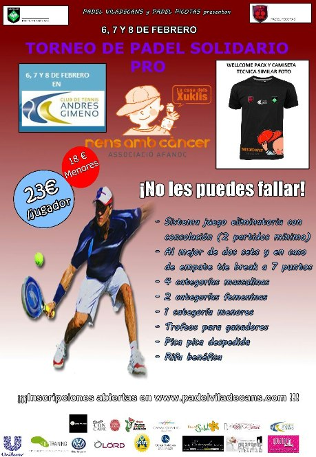 Torneo de pádel Solidario Pro AFANOC