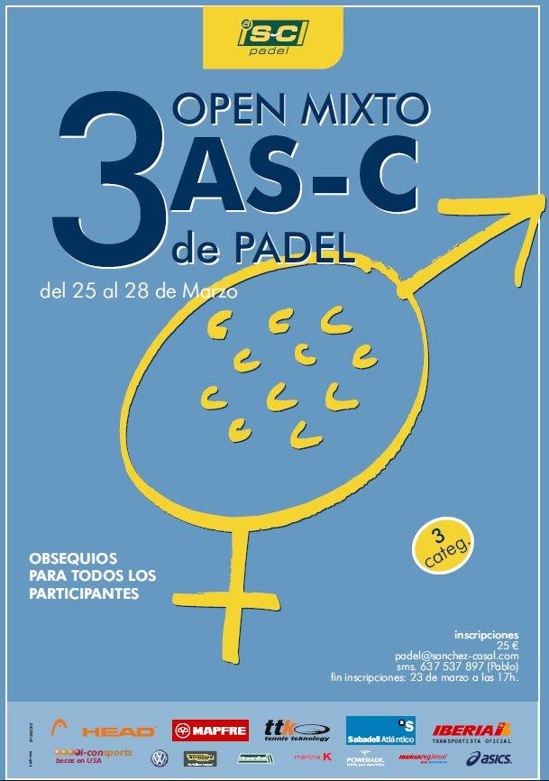 Torneo open mixto de padel 3 as-C en la academia Sanchez Casal