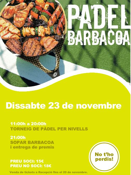 Torneo padel Barbacoa en el Club Ciudad Diagonal