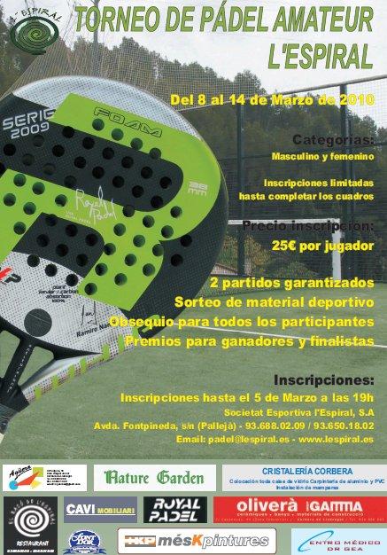 Torneo padel amateur LEspiral en Palleja