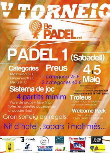 V Torneo BePadel en el Padel1 de Sabadell