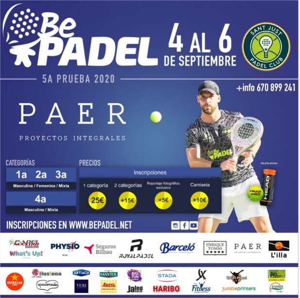 cartel torneo padel BEPADEL Sant Just Padel Club