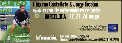 Curso Entrenador Pádel en Barcelona 22,23 y 24 de  Mayo