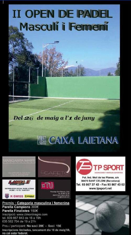 Torneo de padel. II open Club Tennis Montnegre