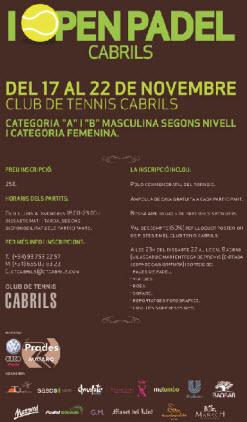 Primer Open de padel en el club de tenis Cabrils